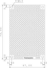 ユニバーサル基板 片面・ガラスコンポジット1.2t・72×47mm