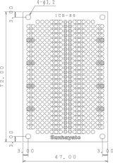 ユニバーサル基板 片面・紙フェノール1.6t・72×47mm